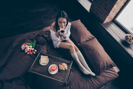 Top above high angle view of nice attractive lovely peaceful dreamy girl sitting on bed enjoying 8 March surprise idyllic drinking coffee industrial brick wood loft modern interior style house indoors