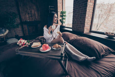 Portrait of her she nice attractive lovely cheerful cheery dreamy girl sitting on bed enjoying 8 March surprise drinking coffee at industrial brick wood loft modern interior style house Banco de Imagens
