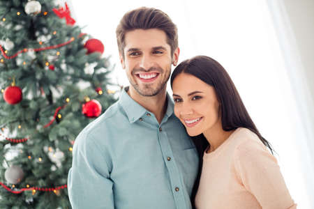 Portrait of two people romantic couple with brunette hair hug have fun on christmas vacation x-mas holidays in house indoors Stock Photo