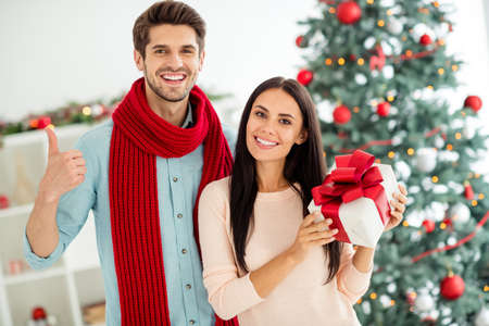 Portrait of two people romantic spouses hold hift showing sign thumb up enjoy christmas time x-mas holidays in house indoors