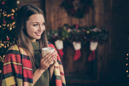 Profile side photo of positive cheerful girl covered by checkered blanket look hold mug with eggnog imagine her christmas vacation relax rest feel newyear atmosphere in house indoors