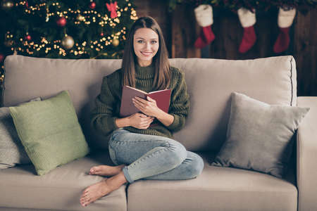 Full size photo of positive cheerful brown hair girl sit on divan hold book enjoy christmas celebration vacation wear knitted sweater denim jeans in house full of noel decorations tinsels indoors Stok Fotoğraf