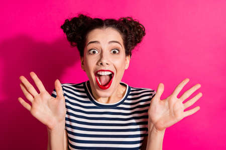 Close up photo of cheerful cute nice charming fascinating girlfriend shocked with new information received isolated over vivid fuchsia color background Stok Fotoğraf