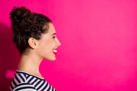 Close up photo of white cheerful cute pretty nice girlfriend smiling toothily beaming looking into empty space isolated over fuschia vivid color background