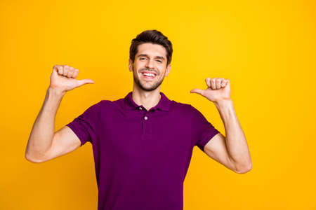 Portrait of his he nice attractive lovely content cheerful cheery guy wearing lilac shirt pointing thumbs at himself isolated over bright vivid shine vibrant yellow color background