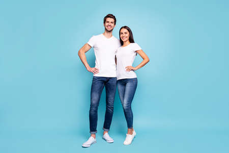 Full length body size view of his he her she nice attractive charming pretty lovely cheerful couple hugging isolated over bright vivid shine vibrant blue green turquoise background