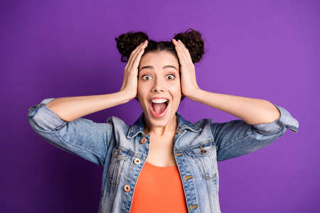 Omg black friday. Close up photo of astonished girl hear incredible novelty shout feel rejoice emotions wear casual style outfit isolated over violet purple color background