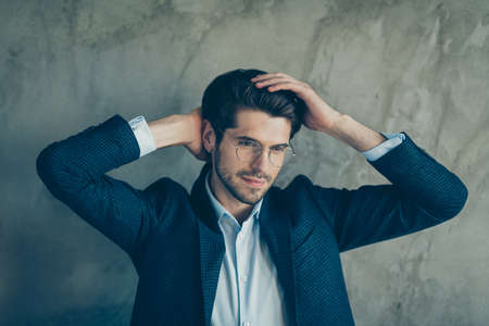 Profile side photo of elegant businessman have hairstylist treatment touch hand hair look mirror enjoy his hairdo wear stylish modern jacket isolated over grey color background Stock fotó