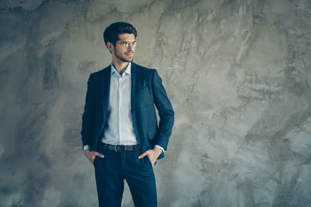 Profile side photo of virile good looking freelancer rich wealthy banker put his hands in pockets of expensive trousers dream about large enterprise wear jacket outfit isolated over grey color background