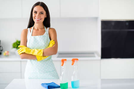 Portrait of confident cool housekeeper having cleaning small business enterprise ready wash polish furniture cross hands stay in kitchen house indoors