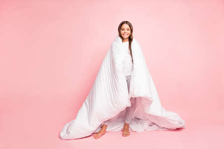 Full length body size view of her she nice attractive lovely cute cheerful cheery wavy-haired pre-teen girl covered with veil new cotton house collection isolated on pink pastel color background
