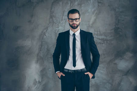 Portrait of handsome serious guy freelancer company owner look ready decide decisions choose choice wear trendy outfit isolated over grey color background