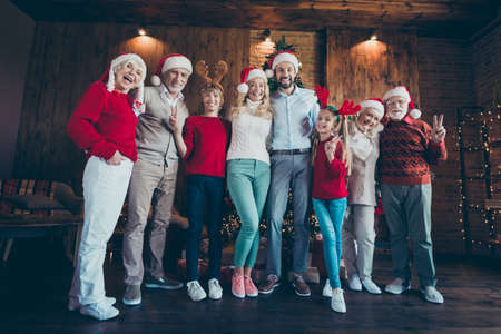 Full length body size photo of cheerful positive cute nice family with granddad and siblings showing v-signs in antlers smiling toothily indoors