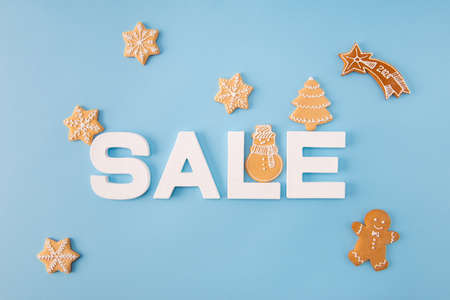 High angle view photo of x-mas sale low prices announce billboard made with baked biscuits little figures creative falling star decor isolated blue color background Imagens