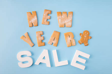 Sale sale sale. High angle view photo of x-mas sale low prices announce billboard made with baked biscuits words letters creative decor isolated blue color background