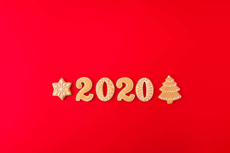 Top above high angle view photo of creative composition of gingerbread cookies christmas tree snowflakes word 2020 x-mas celebration lay isolated over bright color background