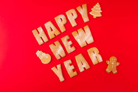 Greeting festive card concept. High angle view photo of three baked words elements figures tasty sweet congratulation x-mas composition made red background