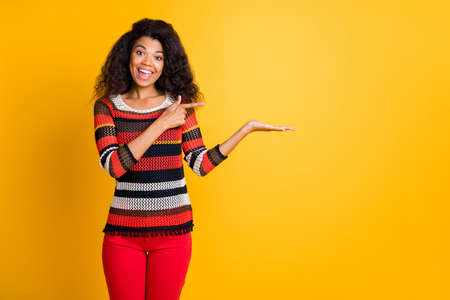 Portrait of her she nice attractive cheerful cheery wavy-haired girl in knitted sweater showing invisible object ad advert good advice isolated on bright vivid shine vibrant yellow color background