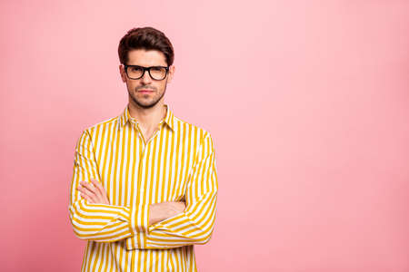 Photo of amazing business guy looking strictly on colleagues crossing hands blaming for late work wear specs stylish striped shirt isolated pink color background Stock Photo
