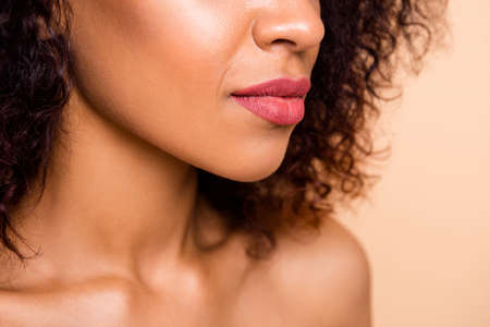 Cropped close up side profile photo beautiful she her dark skin model lady enjoy new made perfect big lips size correction pink tender tempting color wear nothing isolated pastel beige background