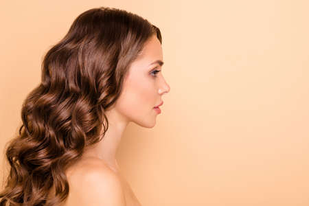 Profile side photo of dream dreamy girl enjoy spa salon skin care treatment feel wellness flawless isolated over pastel color background Archivio Fotografico - 135268610