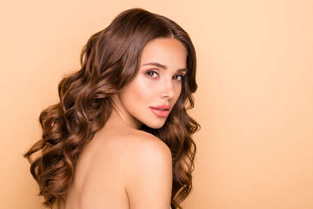 Close up photo of charming lady enjoy body care procedure pampering isolated over beige color background Archivio Fotografico - 135268669