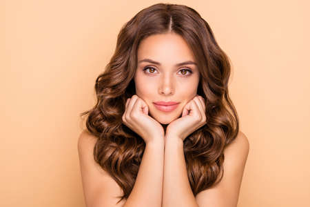 Close-up portrait of her she nice-looking attractive lovely feminine sensual wavy-haired girl pure effect bath shower gel lotion organic detox isolated over beige pastel color background