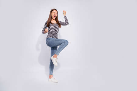 Full length body size view of her she nice attractive charming cheerful cheery lucky straight-haired girl having fun lottery winning good news best luck isolated over white light background