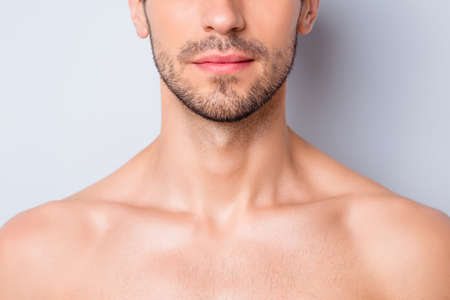 Close-up cropped view portrait of his he nice attractive content serious guy unshaven mustache chin flawless perfect smooth skin spa treatment isolated on light white grey color pastel background