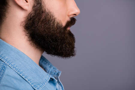 Cropped profile side photo of focused guy look copy space show his groomed beard after spa salon, bodycare procedure wear stylish jeans outfit isolated over grey color background