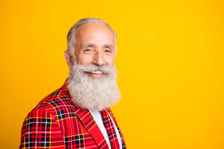 Closeup profile photo of cool look grandpa guy stylish beard came to romance date in new suit wear hipster tartan blazer tie clothes isolated yellow color background