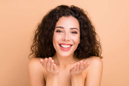 Close-up portrait of her she nice-looking attractive lovely shine cheerful wavy-haired girl bath shower gel refreshment bathroom purity isolated over beige background