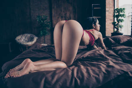 Close up back rear behind view photo desire she her lady cat pose knees sheets perfect ideal shapes bottom surprise wish want boyfriend love me nude red lace bikini boudoir room indoors bedroom Stock Photo