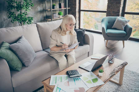 Its never late to study. Photo of white haired aged granny using notebook holding notepad noting online masterclass business lecture lesson sitting sofa divan room office indoors 스톡 콘텐츠