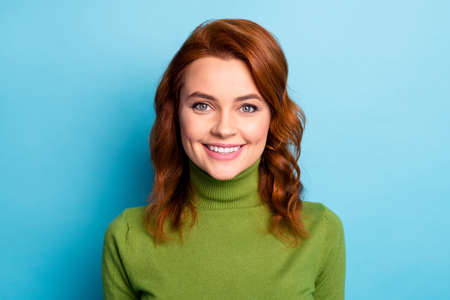 Close-up portrait of her she nice attractive cheerful cheery wavy-haired girl healthy beaming smile isolated over bright vivid shine vibrant green blue turquoise teal color background