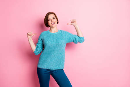 Portrait of her she nice attractive lovely charming pretty cheerful cheery content brown-haired woman pointing at herself isolated over pink pastel color background Stock fotó