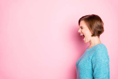Close-up profile side view portrait of her she nice attractive crazy outraged depressed frustrated brown-haired woman shouting blame isolated over pink pastel color background