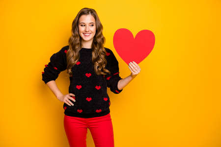 Photo of pretty curly lady amour romance mood holding big paper heart showing creative idea postcard wear hearts pattern jumper red trousers isolated yellow color background