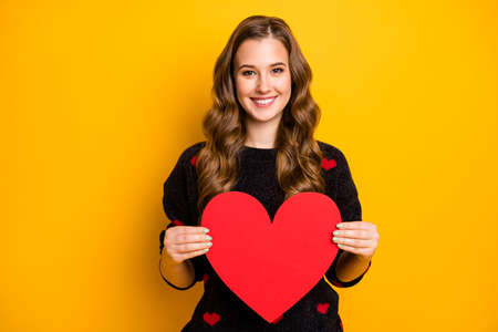 Photo of pretty curly long hairdo lady holding big paper heart demonstrating creative idea postcard wear black red hearts pattern sweater isolated yellow color background Banco de Imagens