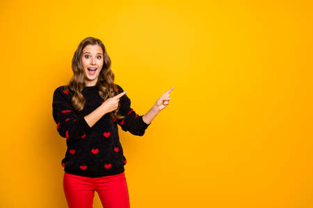 Photo of funky satisfied lady open mouth indicate fingers empty space advising low shopping prices wear hearts pattern pullover red pants isolated yellow color background