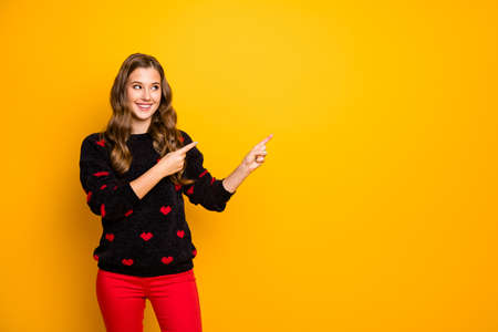 Photo of beautiful lady indicating hands fingers empty space advising low shopping season prices wear hearts pattern pullover red pants isolated yellow color background Banco de Imagens