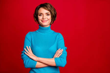 Portrait of charming attractive girl cross hands enjoy her work day ready decide decisions wear stylish clothing isolated over vibrant color background