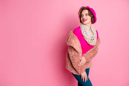 Portrait of charming attractive french girl look good copyspace enjoy free weekend time dream wear pastel coat shawl blue pants apparel isolated over pink color background 免版税图像