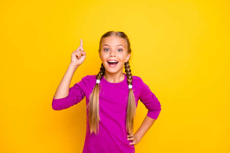 Portrait of her she nice attractive lovely charming smart clever cheerful cheery girl creating good idea pointing up isolated over bright vivid shine vibrant yellow color background