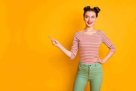 Portrait of her she nice-looking attractive lovely pretty charming cheerful cheery girl showing decision copy space isolated over bright vivid shine vibrant yellow color background