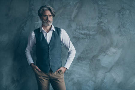 Portrait of gorgeous charismatic rich wealthy old man look good put hands pocket wear brown outfit isolated over grey color background