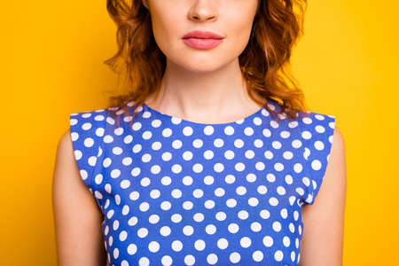 Cropped close-up view portrait of her she nice attractive lovely pretty, cute wavy-haired girl wearing pinup dress perfect plump lips isolated over bright vivid shine vibrant yellow color background Фото со стока