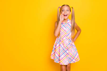 Photo of pretty funny little lady look side empty space hand near mouth sharing information crowd people wear checkered summer dress isolated yellow bright color background Foto de archivo