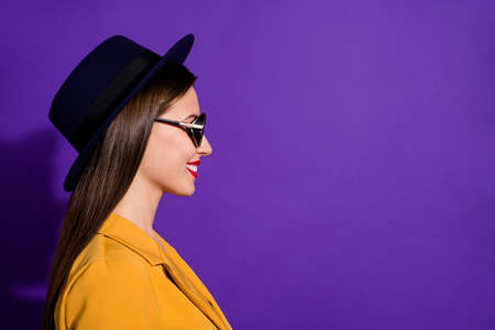Profile side photo of cheerful attractive girl enjoy luxury meeting with new business people look copyspace wear stylish clothes isolated over purple color background