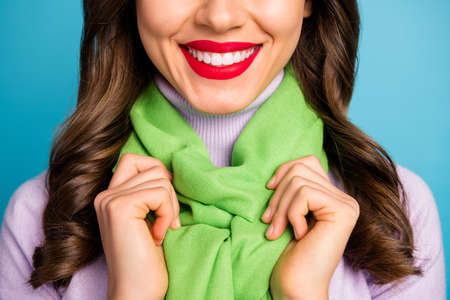 Cropped closeup photo of pretty lady show perfect smile teeth after whitening procedure red lips wear green beret hat purple turtleneck scarf isolated blue color background